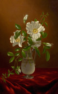 Paintings, MARTIN JOHNSON HEADE (American, 1819-1904). Cherokee Roses in a Glass Vase, circa 1883-1888. Oil on canvas . 19 x 12 inc... (Total: 2 Items)