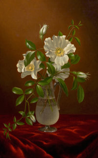 MARTIN JOHNSON HEADE (American, 1819-1904) Cherokee Roses in a Glass Vase, circa 1883-1888 Oil on ca
