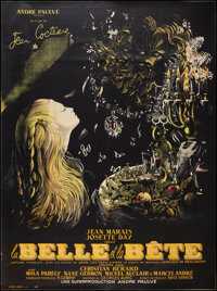 "Beauty and the Beast (DisCina, R-1951). French Grande (47"" X 63""). Fantasy"