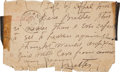 Autographs:Celebrities, Frank Butler: A Note and Integral Envelope Posted from England in1889, during the Buffalo Bill Tour, to his Brother William. ...