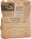 Miscellaneous:Ephemera, Annie Oakley and Frank Butler: Original Telegrams to Frank'sBrother William with News of Their Deaths. ...