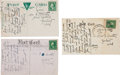 Autographs:Celebrities, Frank Butler: Three Postcards in his Hand to his Brother William. ... (Total: 3 Items)