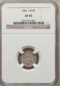 Seated Half Dimes: , 1861 H10C XF45 NGC. NGC Census: (6/494). PCGS Population (18/414).Mintage: 3,361,000. Numismedia Wsl. Price for problem fr...