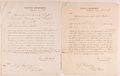 Books:Americana & American History, Group of Two United States Customs Documents on Treasury Department Letterhead. September, 1856. Each is single-...