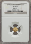 California Fractional Gold: , 1870 25C Liberty Round 25 Cents, BG-808, R.3, MS65 NGC. NGC Census:(10/9). PCGS Population (51/14). (#10669)...