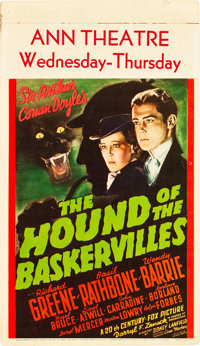 "The Hound of the Baskervilles (20th Century Fox, 1939). Midget Window Card (8"" X 14"")"