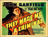 """They Made Me a Criminal (Warner Brothers, 1939). Title Lobby Card (11"""" X 14"""")"""