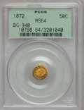 California Fractional Gold: , 1872 50C Indian Octagonal 50 Cents, BG-940, R.4, MS64 PCGS. PCGSPopulation (24/9). NGC Census: (7/2). (#10798)...
