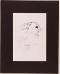 Books:Original Art, Michael Hague. Original Inscribed Drawing of a Rabbit. [n. d.]. Ink on paper drawing, matted area measures 6.5 x 4.5 inches....
