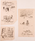 Books:Children's Books, Garth Williams. INITIALED. Eleven Proof Cuttings from Laura IngallsWilder's On the Banks of Plum Creek, 1953. A...