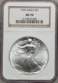Modern Bullion Coins: , 1995 $1 Silver Eagle MS70 NGC. NGC Census: (78). PCGS Population(1). Mintage: 4,672,051. Numismedia Wsl. Price for problem...