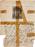 Autographs:Celebrities, Frank Butler: Rare Early Handwritten Letter on Annie Oakley Letterhead. ...