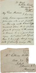 Autographs:Celebrities, Frank Butler: A Charming 1892 Note about Him, Written to hisMother....