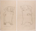 Books:Children's Books, Garth Williams. SIGNED. Two Preliminary Drawings for anIllustration in Bedtime for Frances by Russell Hob...