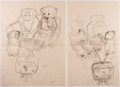 Books:Children's Books, Garth Williams. INITIALED. Two Preliminary Drawings for anIllustration in Bedtime for Frances by Russell ...
