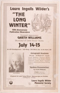 "Books:Children's Books, [Garth Williams]. Several Laura Ingalls Wilder-Related Items,including: Small poster (17 x 11 inches) advertising ""Laura ..."