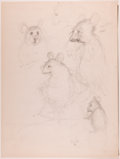 Books:Children's Books, Garth Williams. SIGNED/INITIALED. Two Preliminary Drawings forIllustrations in The Rescuers by Margery Sh...