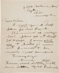 Autographs:Celebrities, Annie Oakley: An Important Content Letter to Brother-in-law William Butler. ...
