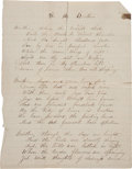 Autographs:Celebrities, Frank Butler: Four Handwritten Poems Composed in his Youth....