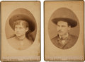 Photography:Cabinet Photos, Annie Oakley & Frank Butler: A Rare Pair of Early Cabinet Photos, with Names in Butler's Hand on Verso. ... (Total: 2 Items)