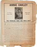 "Advertising:Paper Items, Annie Oakley: An 8.5"" x 11"" Advertising Broadside...."