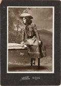 Autographs:Celebrities, Annie Oakley as The Western Girl, a Rare Cabinet Photo Signed and Inscribed on Verso. ...