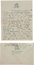 Autographs:Celebrities, Annie Oakley: Five-Page handwritten Letter to Brother-in-lawWilliam Butler, with Original Envelope Bearing her Signature inF...