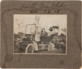 Photography:Cabinet Photos, Annie Oakley: Great 1907-Dated Original Photo Showing her Riding on a Wonderful Brass-era Automobile. ...