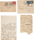 Autographs:Celebrities, Frank Butler: A Letter, a Postcard and Two Envelopes in his Hand.... (Total: 4 Items)