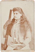 Photography:Cabinet Photos, Annie Oakley: An Early Cabinet Photo Posed with a Shotgun. ...