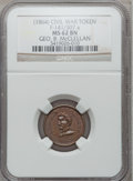 Civil War Patriotics, 1863 Geo. B. McClellan / Army & Navy MS62 Brown NGC.Fuld-141/307a....