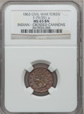 Civil War Patriotics, 1863 Indian, Crossed Cannons MS65 Brown NGC. Fuld-79/351a....
