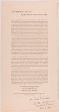 Books:Literature 1900-up, [William Everson]. Brother Antoninus. INSCRIBED. At the Edge: APoem. Printed Broadside. One page, measuring 14....