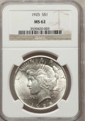 Peace Dollars: , 1925 $1 MS62 NGC. NGC Census: (768/39752). PCGS Population(2015/33785). Mintage: 10,198,000. Numismedia Wsl. Price for pro...