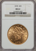 Liberty Double Eagles: , 1878 $20 MS61 NGC. NGC Census: (453/281). PCGS Population(281/286). Mintage: 543,645. Numismedia Wsl. Price for problemfr...