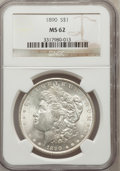 Morgan Dollars: , 1890 $1 MS62 NGC. NGC Census: (1862/10222). PCGS Population(2585/9168). Mintage: 16,802,590. Numismedia Wsl. Price for pro...