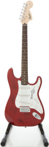 Musical Instruments:Electric Guitars, Squier by Fender Stratocaster Candy Apple Red Solid Body Electric Guitar, #IC040842117....