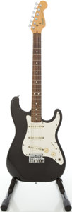 Musical Instruments:Electric Guitars, 1983 Fender Stratocaster Black Solid Body Electric Guitar,#E333418....