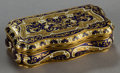 Silver Smalls:Other , A CONTINENTAL ENAMEL AND 18K GOLD SNUFF BOX . Maker unknown,probably France, circa 1875. Unmarked. 3-7/8 inches long (10.0 ...