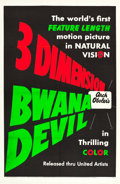 "Movie Posters:Adventure, Bwana Devil (United Artists, 1953). Day-Glo One Sheet (27"" X 41"")3-D Teaser Style.. ..."