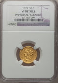 Liberty Quarter Eagles: , 1877 $2 1/2 -- Improperly Cleaned -- NGC Details. VF. NGC Census:(0/97). PCGS Population (0/80). Mintage: 1,652. Numismedi...