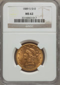 Liberty Eagles: , 1889-S $10 MS62 NGC. NGC Census: (404/108). PCGS Population(369/244). Mintage: 425,400. Numismedia Wsl. Price for problem ...