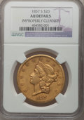 Liberty Double Eagles: , 1857-S $20 -- Improperly Cleaned -- NGC Details. AU. NGC Census:(86/709). PCGS Population (59/304). Mintage: 970,500. Numi...