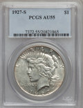 Peace Dollars: , 1927-S $1 AU55 PCGS. PCGS Population (128/4303). NGC Census:(101/2898). Mintage: 866,000. Numismedia Wsl. Price for proble...