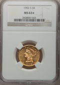 Liberty Half Eagles, 1902-S $5 MS63* NGC. NGC Census: (487/680). PCGS Population(592/581). Mintage: 939,000. Numismedia Wsl. Price for problem ...