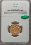 Liberty Half Eagles: , 1856-S $5 VF20 NGC. CAC. NGC Census: (2/131). PCGS Population(3/113). Mintage: 105,100. Numismedia Wsl. Price for problem ...