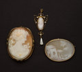 Estate Jewelry:Cameos, Three Gold Cameos. ... (Total: 3 Items)