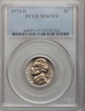 Jefferson Nickels: , 1974-D 5C MS65 Full Steps PCGS. PCGS Population (91/40). NGCCensus: (11/20). (#84093)...