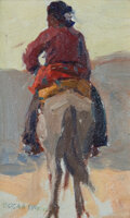 Paintings, EDGAR ALWIN PAYNE (American, 1883-1947). Navajo on Horseback. Oil on board. 4-1/2 x 7 inches (11.4 x 17.8 cm). Signed lo...