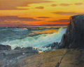 American:Regional, ALFRED MITCHELL (1888-1972). Crashing Waves at Sunset. Oilon canvas. 24 x 30 inches (61.0 x 76.2 cm). Signed lower righ...